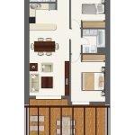grondplan appartement te koop aan de costa del sol twee slaapkamers twee badkamers open keuken en open terras
