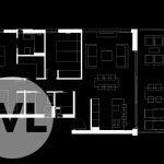 grondplan nieuwbouw appartement spanje te koop op gelijkvloers met 3 slaapkamers linkse hoek verbinding U vorm