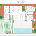 grondplan nieuwbouw villa te koop aan costa calida spanje kleinere woonkamer en open keuken