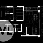 grondplan penthouses te koop in spanje op hoeken gebouw met 3 slaapkamers op eerste verdieping verbinding U vorm