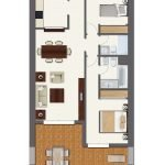 grondplan tweeslaapkamerappartement met gesloten keuken en overdekt terras