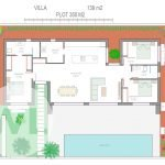 grondplan villa te koop in spanje met zwembad met open keuken en woonkamer 52 vierkante meter aan mar menor santiago de la ribera
