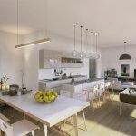 gemeenschappelijke ontspanningsruimte en keuken met salon televisie gezelschapsspelen barkrukken eettafel met stoelen