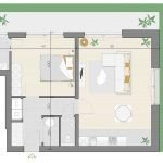 grondplan 1 slaapkamer appartement te koop blok B gelijkvloerse verdieping watermaal bosvoorde