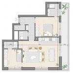 grondplan 2 slaapkamer appartement te koop op tweede verdieping brussel