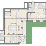 grondplan 3 slaapkamer appartement te koop in blok D aan vijver op gelijkvloerse verdieping brussel aan zonienwoud