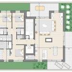 grondplan penthouse te koop in blok D met 3 slaapkamers brussel watermaal bosvoorde aan zonienwoud vorstlaan