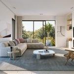 interieur voorbeeld woonkamer met open haard flat screen tv natuursteen afwerking ruim salon comfort en veel licht met terras