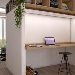multifunctioneel meubel dat overdag dienst doet als modern strak bureau optimale benutting van ruimte in studio's