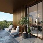 ruim prachtig terras met loungezetels van penthouse te koop met uitzicht over zoniënwoud groene long van brussel