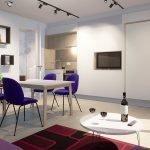 sfeerbeeld interieur studio met ingeklapt tweepersoonsbed ingewerkt in muur elegante afwerking