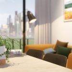 sfeerbeeld tafel stoelen moderne oranje zitbank natuurlijke lichtinval studio in brussel als vastgoedbelegging