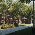 veel natuur bomen en planten rondom residentie met luxe appartementen te koop brussel watermaal bosvoorde