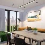voorbeeld inrichting eettafel stoelen uitklapbaar bed zitbank brussel studio te koop