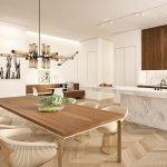 voorbeeld inrichting open keuken en woonkamer prachtig samenspel van natuurlijke kleuren en duurzame materialen