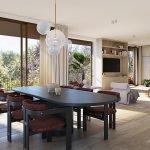 voorbeeld inrichting woonkamer eettafel en ruim salon met terras uitzicht over groene omgeving van zoniënwoud watermaal bosvoorde