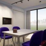 voorbeeldinterieur lichtrijke studio bed ingewerkt in muur voor maximale ruimte overdag