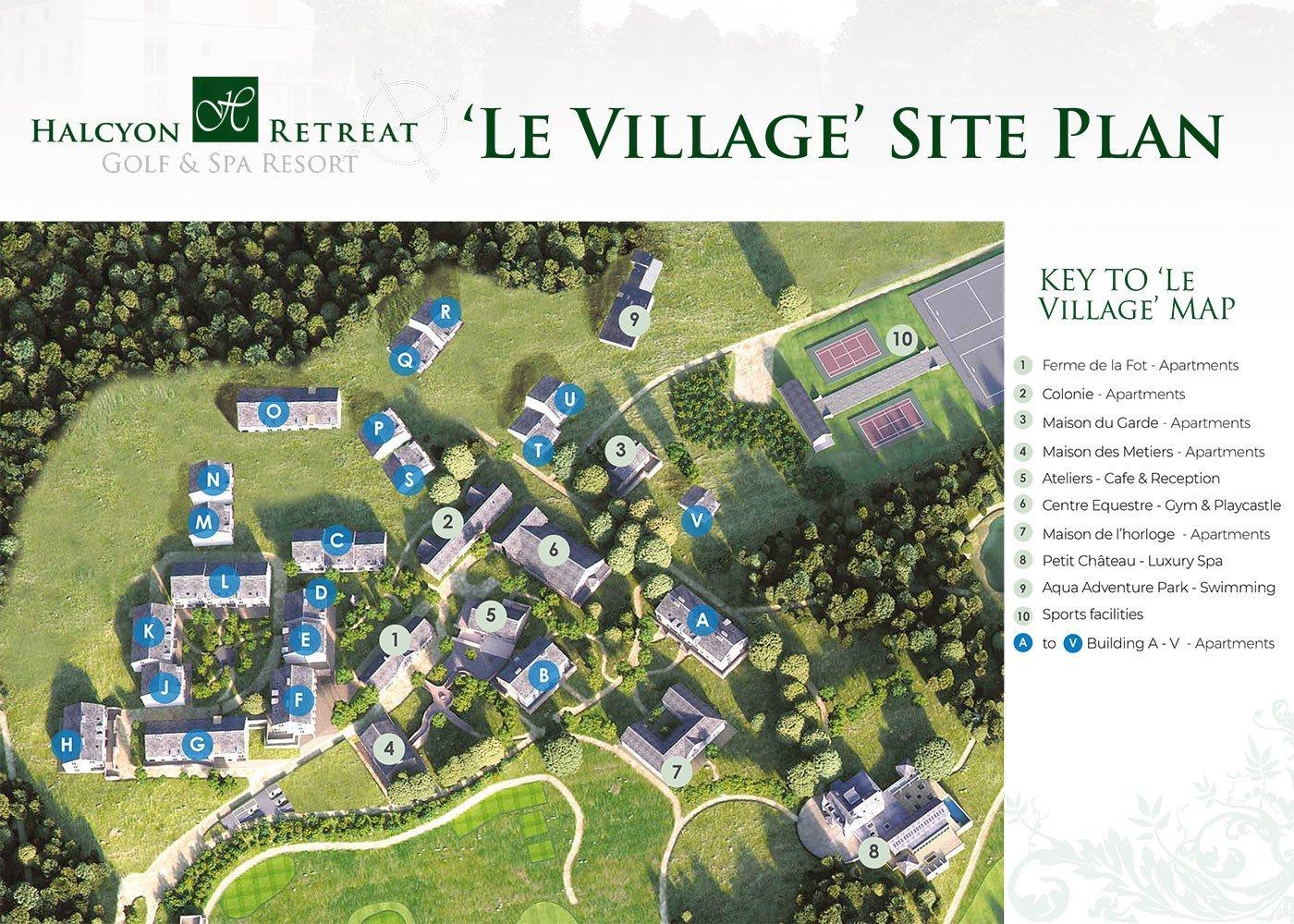 grondplan le village dorp met opbrengsteigendommen studio's en appartementen met verhuurgarantie zorgeloos beleggen nouvelle aquitaine frankrijk